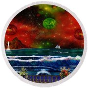 The Heavens Round Beach Towel by Michael Rucker