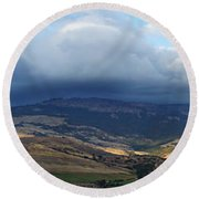 The Hills Of Ashland Round Beach Towel