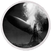 The Hindenburg In Flames Round Beach Towel