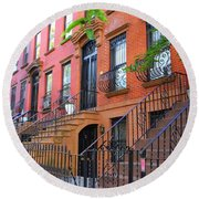 The Historic Brownstones Of Brooklyn Round Beach Towel by Dora Sofia Caputo Photographic Art and Design