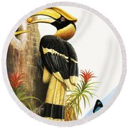 The Hornbill Round Beach Towel by R.B. Davis