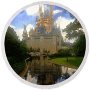 The House Of Cinderella Round Beach Towel by David Lee Thompson