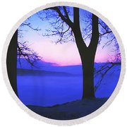 Round Beach Towel featuring the painting The Hush At First Light by Sophia Schmierer