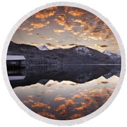 The Hut By The Lake Round Beach Towel