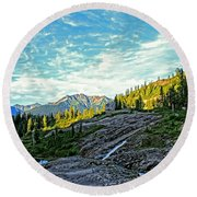 Round Beach Towel featuring the photograph The Hut. by Eti Reid