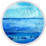 Round Beach Towel featuring the painting The Iceage Cometh No.2 by Trudi Doyle