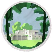 The Ideal House In House And Gardens Round Beach Towel