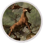 The Irish Elk Round Beach Towel