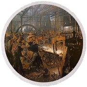 The Iron-rolling Mill Oil On Canvas, 1875 Round Beach Towel
