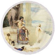 The Ivory Flute Round Beach Towel