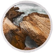 The Jagged Rocks And Cliffs Of Montana De Oro State Park In Caliornia Round Beach Towel