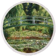The Japanese Footbridge And The Water Lily Pool Giverny Round Beach Towel