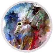 The Jazz Player Round Beach Towel