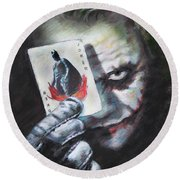 The Joker Heath Ledger  Round Beach Towel