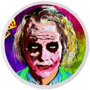 The Joker - Heath Ledger Round Beach Towel by Daniel Janda