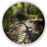 Round Beach Towel featuring the photograph The Journey Along The Path Comes With Light And Shadows by Lucinda Walter