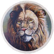 Round Beach Towel featuring the painting The King by Anthony Mwangi