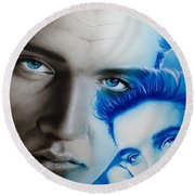 Elvis Presley - ' The King ' Round Beach Towel by Christian Chapman Art