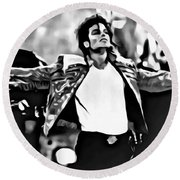 The King Of Pop Round Beach Towel