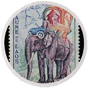 Round Beach Towel featuring the photograph The King's Elephant Vintage Postage Stamp Print by Andy Prendy