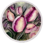 The Kings Tulips Round Beach Towel