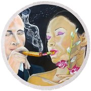 Round Beach Towel featuring the painting The Kiss Edge Listen With Music Of The Description Box by Lazaro Hurtado