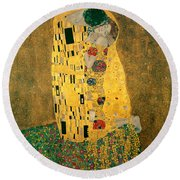 The Kiss Round Beach Towel by Gustive Klimt