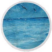 Round Beach Towel featuring the painting The Kite Surfers by Conor Murphy