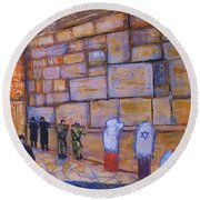 Round Beach Towel featuring the painting The Kotel by Donna Dixon