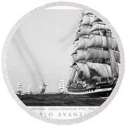 The Kruzenshtern Departing The Port Of Cadiz Round Beach Towel