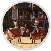 The Lady And The Knight Round Beach Towel