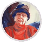 The Lady In Red Round Beach Towel by Kathy Braud