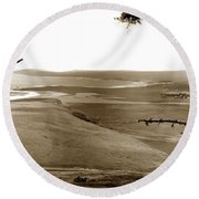 The Lagoon At The Mouth Of The Carmel River  From Fish Ranch California 1905 Round Beach Towel