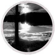 The Lake - Black And White Round Beach Towel