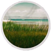 The Lake - Digital Oil Round Beach Towel by Mary Machare