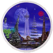 Round Beach Towel featuring the photograph The Lakes Of Zorg by Mark Blauhoefer