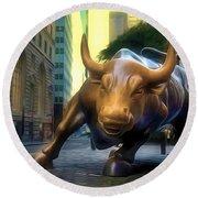 The Landmark Charging Bull In Lower Manhattan 2 Round Beach Towel