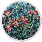 Round Beach Towel featuring the painting The Late Bloomers by Xueling Zou