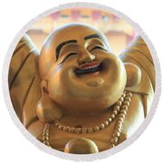 The Laughing Buddha Round Beach Towel