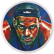 The Lebron Death Stare Round Beach Towel