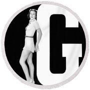 The Letter g And A Woman Round Beach Towel