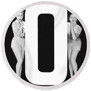 The Letter o  And Two Women Round Beach Towel