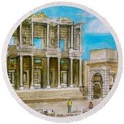 The Library At Ephesus Turkey Round Beach Towel