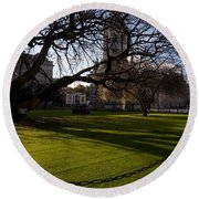 The Library Square, Trinity College Round Beach Towel
