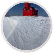 The Lighthouse Big Red During Winter In Holland Michigan Round Beach Towel by Randall Nyhof
