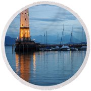 The Lighthouse Of Lindau By Night Round Beach Towel