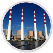 Round Beach Towel featuring the photograph The Lilco Towers by Ed Weidman