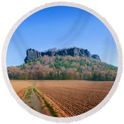 The Lilienstein On An Autumn Morning Round Beach Towel