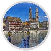 The Limmat City Round Beach Towel