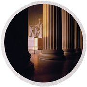 The Lincoln Memorial In The Morning Round Beach Towel